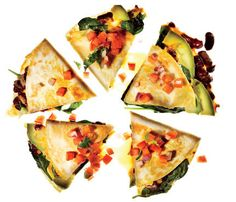 Get More Superfoods: Vegetable Quesadillas With Fresh Salsa. The Skinny: 277 calories per 2 wedges, 8 g fat (3 g saturated), 35 g carbs, 7 g fiber, 13 g protein