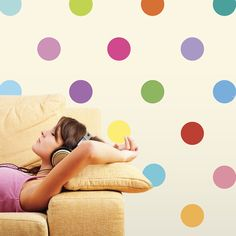 Sixteen Colors Polka Dot Wall Decals, Removable and Reusable on Etsy, $36.00