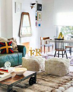 White walls, different textures, mismatch furniture.