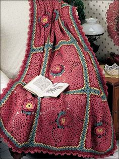 Flowering Pineapple Afghan - Delicate pineapples form petal points in the motifs of this crocheted afghan. Stitched with knitting worsted yarn with a size G crochet hook.  Skill Level: Beginner  free PDf from freepatterns.com