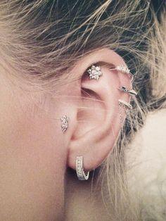 balls, cartilage earrings, diamonds, piercing ideas, chains, ear piercings, a tattoo, beauty, flower