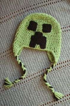 Minecraft Creeper crochet hat. $16.00, via Etsy. For Maddie