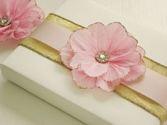 Glitter crepe paper flowers
