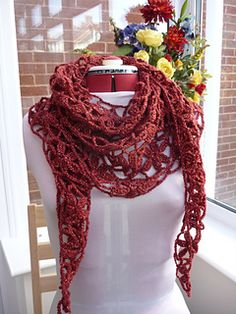 Floral crochet scarf making this in purple cotton