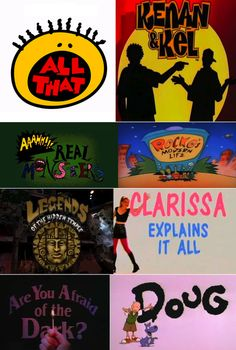 Old school Nickelodeon - All That, Kenan & Kel, Aaahh!!! Real Monsters, Rocko's Modern Life, Legends of the Hidden Temple, Clarissa Explains It All, Are You Afraid of the Dark?, Doug