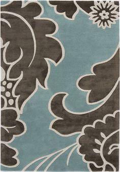 Aqua Blue and Taupe Floral Rug
