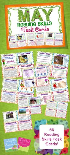 May Reading Skills Task Cards! April Reading Skills and Enrichment Task Cards *Aligned to Common Core* - A set of 56 Reading Skills and Enrichment Task Cards that are aligned to common core standards for grades 3-5$