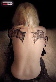 tattoo ideas, angel wings, bat wing, fallen angels, back tattoos, dark angels, a tattoo, tattoo ink, wing tattoos