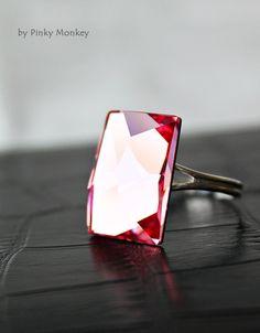 Exquisite Rose Pink Swarovski Crystal Adjustable Sterling Silver Cocktail Ring, rose pink, gift for her,gift for mom,wedding. $36.00, via Etsy.