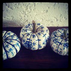 Delft blue painted pumpkins for Halloween
