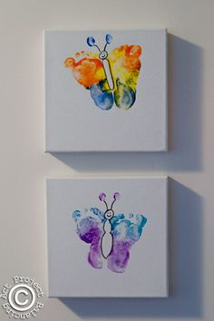 footprint butterflies (on canvas)- so cute for a first birthday party