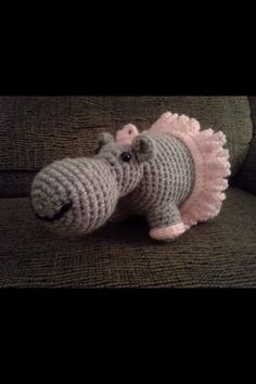 """Ballerina Hippo Crochet Amigurumi Stuffed by HookAndStitches"" #Amigurumi  #crochet"