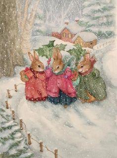 Susan Wheeler winter snow, animal pictures, pond hill, bunny art, snow bunnies, susan wheeler, christma, vintage cards, holli pond
