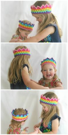 CUSTOM Rainbow Crochet Crown Boutique Color Block Crown Rainbow Princess Crown Made to Order. $20.00, via Etsy.