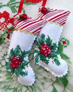 Vintage Christmas Tablecloth Stocking SACHETS