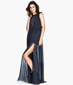 maxi dresses, fashion, style, cloth, chiffon dresses, hm chiffon
