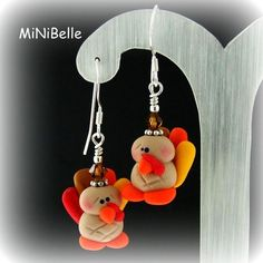 GOBBLE GOBBLE Happy Thanksgiving Turkey Polymer Clay Sterling Silver Earrings