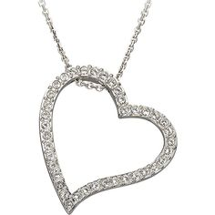 Swarovski Open Heart Crystal Pavé Pendant Necklace ($115) ❤ liked on Polyvore