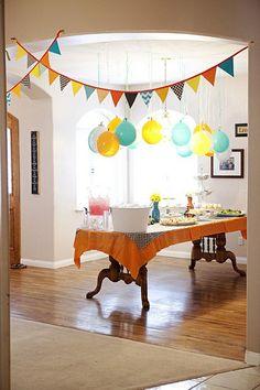 decor, birthday, pennies, shower, babi, balloons, garland, parti idea, hang balloon