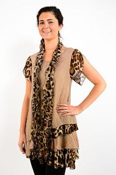 Mocha Leopard Layered Tunic - #blondellamydean #plussizefashion #plussize #curves