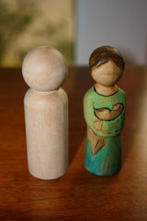 """From the blogger at """"Little Acorns"""" comes a step by step tutorial on personalizing peg people and making them """"come alive"""" by carving them with a dremel. These are beautiful!"""