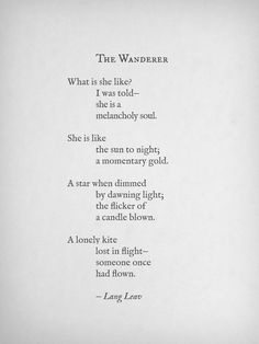 Love this! The Wanderer by Lang Leav  #Lang_Leav #The_Wanderer #Poetry