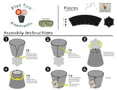Instructions for the flowerpotsbyflattire.com kits made from recycled tires. Kit retails for $9.99