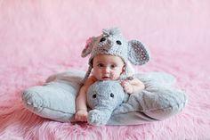 Elephant Earflap Baby Newborn Crochet Photography Prop