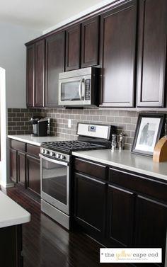 Dark Tile, Light Grout Kitchen Backsplash not the white counter tops maybe granite