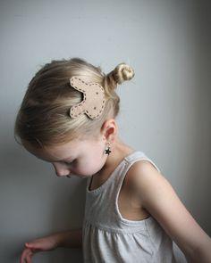 Modern bunny hair clip - Little girl hair clip - handmade hair accessories - milk chocolate bunny hair clip - girls and toddlers. $10.00, via Etsy.