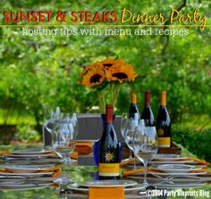 Sunset and Steaks Dinner Party Tips and Recipes with #Mirrasou Wine - Steak Bruschetta and Summer Garden Salad #Recipes!