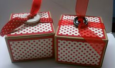 Gift Boxes decorated. Made from Kraft boxes from Stampin Up..