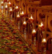 Aisle Decor - floating candles & rose petals