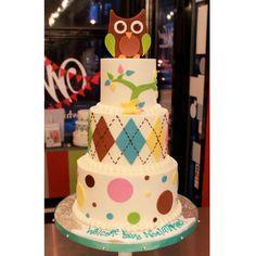 Argyle Owl Baby Shower Cake