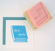 Teacher  Personalized Book Hand Carved Rubber Stamp by cupcaketree, $10.00
