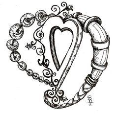 doodle beaded heart