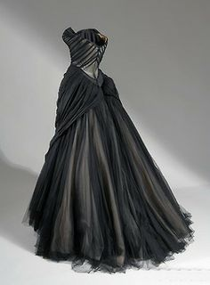 """Petal"" Ballgown Black velvet and silk satin, 1951 Ballgown Black silk chiffon, silk satin, netting, and boning, 1954–55. Charles James wedding dressses, fashion, ball gowns, style, red carpets, dresses, charles james, ballgown, black"