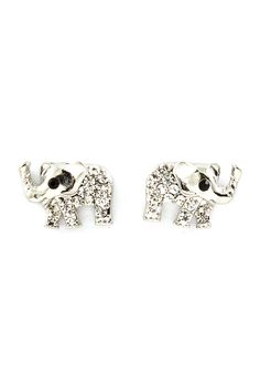 Silver Crystal Elephant Earrings on Emma Stine Limited
