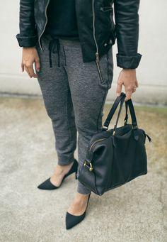 Casual wear gets an upgrade. | Source: http://thefreshexchangeblog.com/2014/10/megan-styled-jogger/