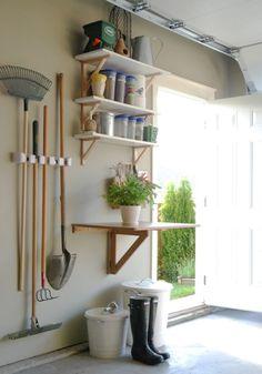 organized gardening garage area, Maillardville Manor