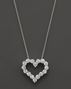 Diamond Heart Necklace in 14K White Gold