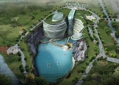 water, green roofs, bungee jumping, design concepts, under construction, resort, architecture, luxury hotels, china