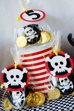 Pirate Party Birthday by http://pinwheellane.etsy.com  #skull #party #food #accessories #pirate #Halloween