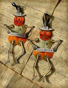 Jointed Pumpkin Skeleton Paper Dolls