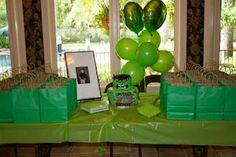 Incredible Hulk Birthday Party....love the goodie bags - Kyler's Incredible Party birthday parties, hulk parti, incred parti, birthday partylov, birthday idea, parti idea, hulk birthday