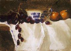 Antique Blue Transferware & Tangerines by Christine Hooker Oil ~ 6 x 8