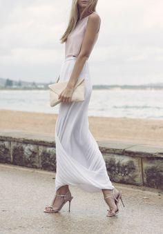 blush maxi skirt, fashion clothes, soft white skirt, white chiffon, long skirts, style summer, beach styles, soft pastels, maxi skirts