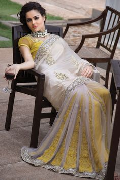 Exquisite Off White and Yellow Resham Embroidered Saree