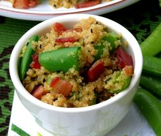 Bacon-Quinoa-Snap Pea Salad with Honey-Lime Dressing