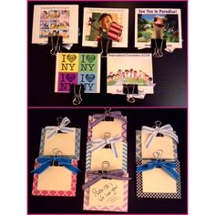 DIY post-it note clipboards! 1/8 in hardboard, pictures/scrapbook paper, binder clips, ribbon. International Convention 2014 delegate gifts